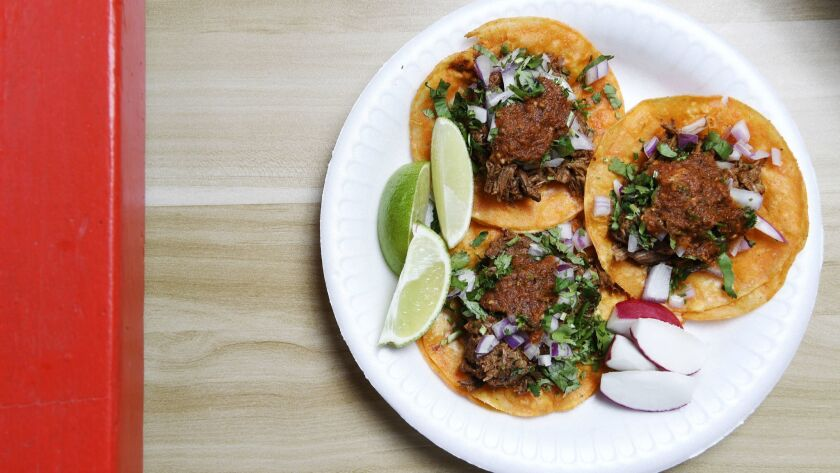 LOS ANGELES, CA-February 6, 2019: The red birria tacos at Teddy's Red Tacos newest location in Veni
