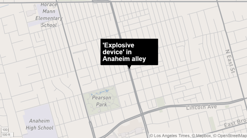 'Pipe bomb' in Anaheim alley
