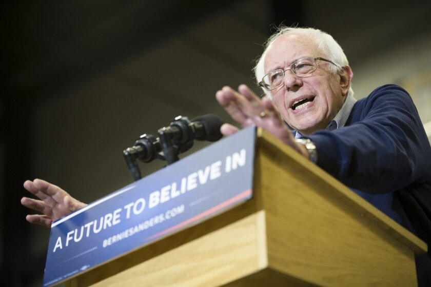 Democratic presidential candidate Sen. Bernie Sanders, I-Vt., speaks during a campaign stop at Great Bay Community College, Sunday, Feb. 7, 2016, in Portsmouth, N.H. (AP Photo/John Minchillo)