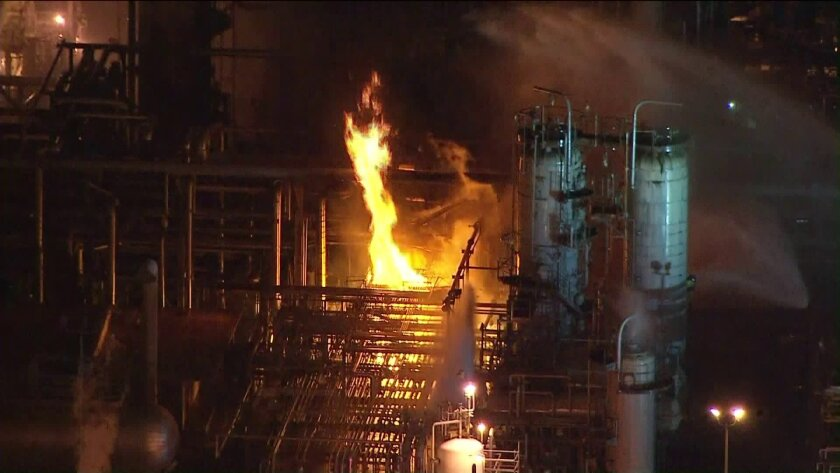 Fire at oil refinery