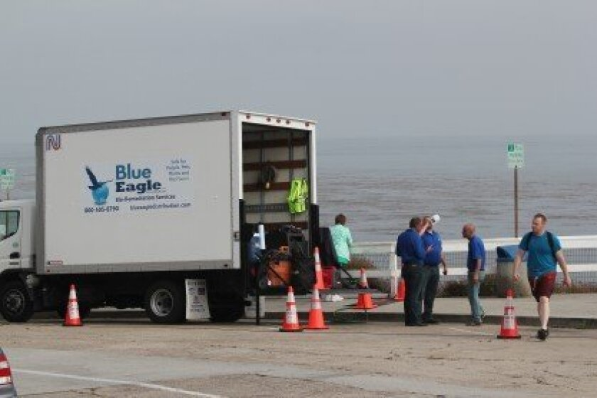 Blue Eagle workers prepare to apply foam on the cliffs. The city is spending $50,000 for the initial odor-eliminating treatment, which does not include the amount it is paying staff and a consultant on the project.