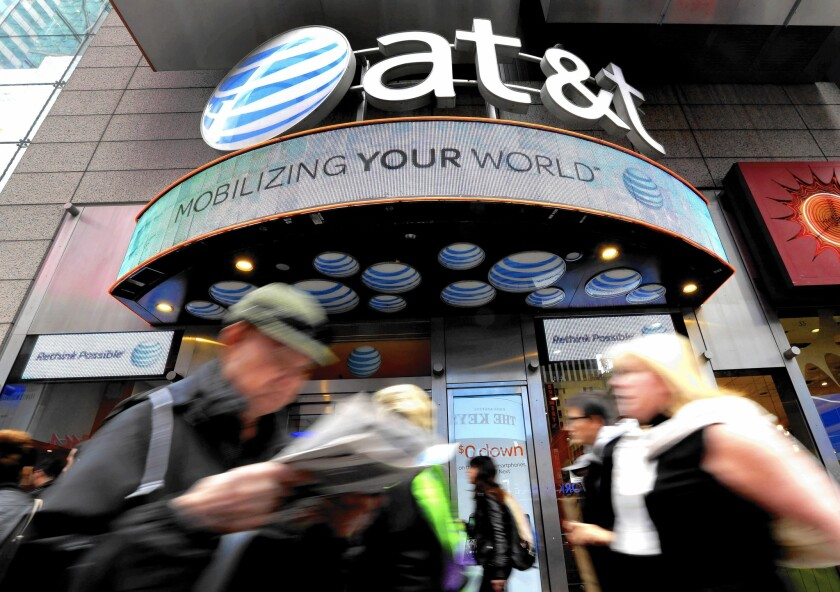 An AT&T store in New York's Times Square. AT&T has created a challenging process for opting out of marketing ptiches from the company and its partners.