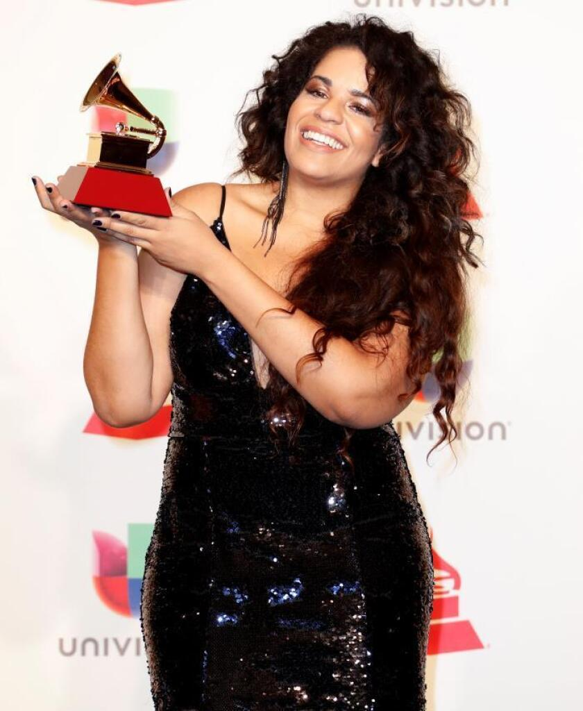 Anaadi holds the award for Best Contemporary Pop Album (Portuguese Language) in the press room during the 19th Annual Latin Grammy Awards ceremony at the MGM Grand Garden Arena in Las Vegas, Nevada, USA, 15 November 2018. The Latin Grammy Awards recognize artistic and/or technical achievement, not sales figures or chart positions, and the winners are determined by the votes of their peers-the qualified voting members of the academy. EPA-EFE/MIKE NELSON