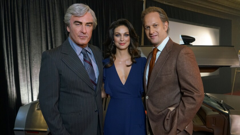 "Alec Baldwin, from left, Morena Baccarin and Josh Charles in ""Framing John DeLorean."""
