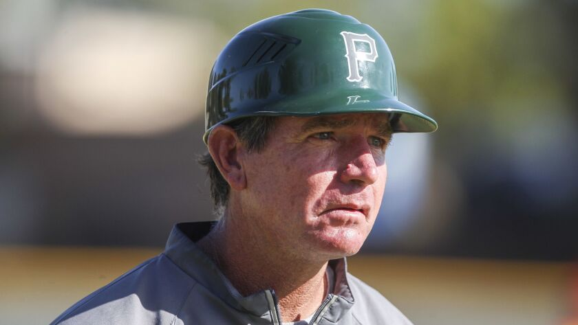 POWAY, April 20, 2016 | Poway coach Bob Parry during game against Torrey Pines at Poway High School