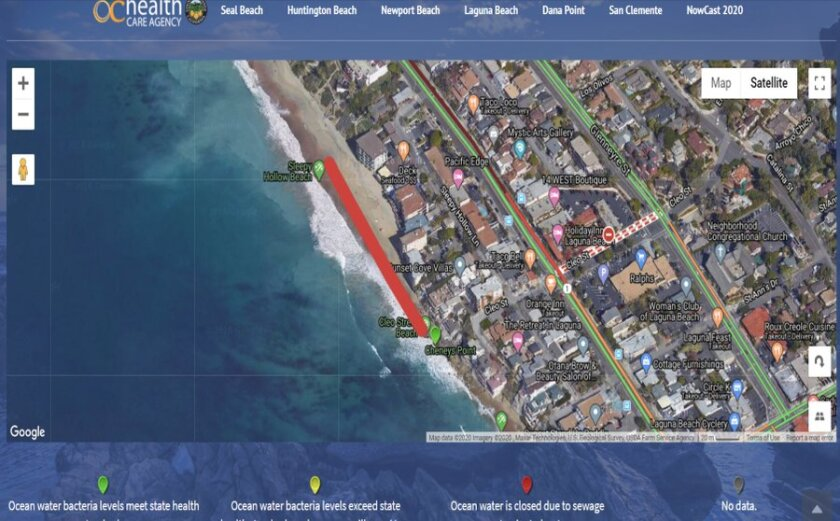 The water is inaccessible between Sleepy Hollow Lane and Cleo Street in Laguna Beach.