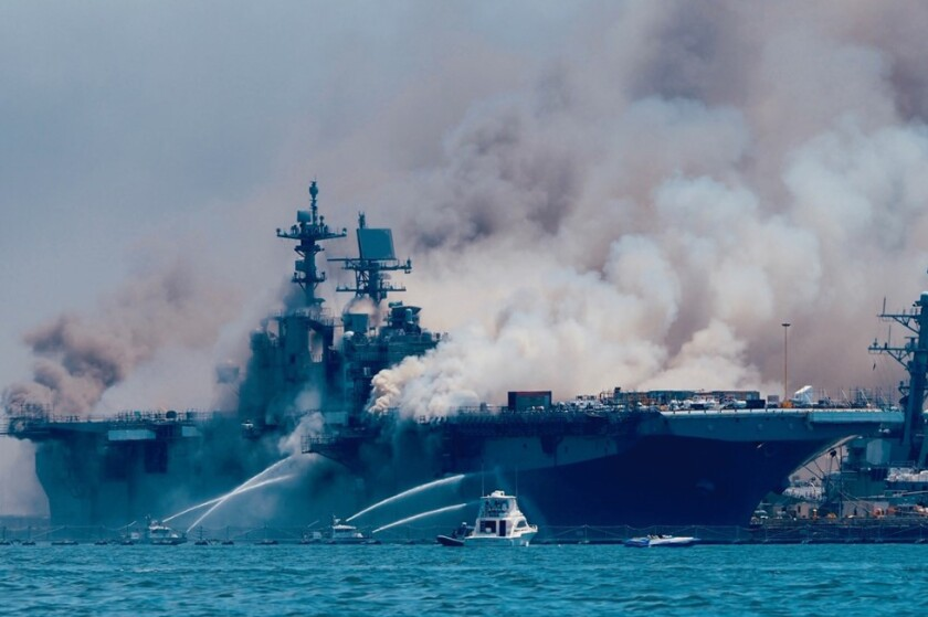 Emergency crews responded to the scene of a fire aboard the USS Bonhomme Richard.