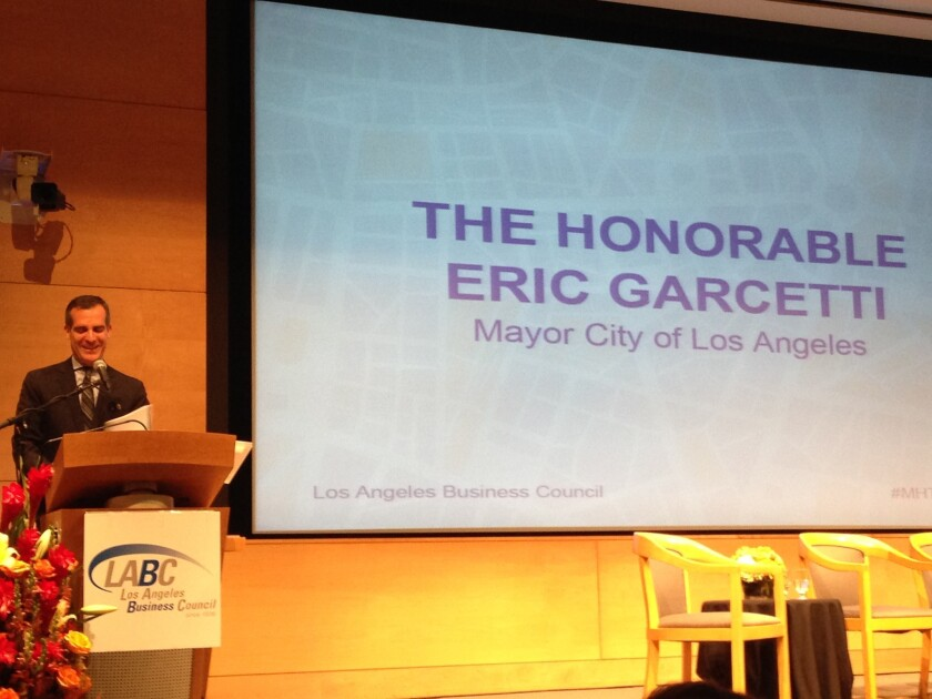 Mayor Eric Garcetti speaks at UCLA Anderson about the minimum wage and Los Angeles' housing shortage.