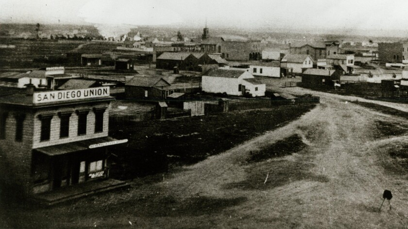 San Diego Union located at 4th and D about 1870.