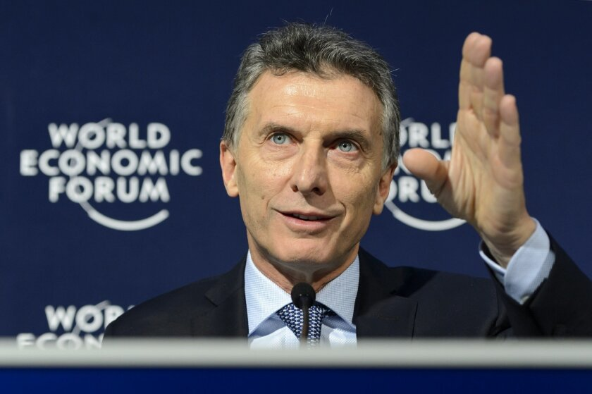Argentina's President Mauricio Macri speaks during a press conference at the 46th Annual Meeting of the World Economic Forum, WEF, in Davos, Switzerland, Friday, Jan. 22, 2016. (Laurent Gillieron/Keystone via AP)
