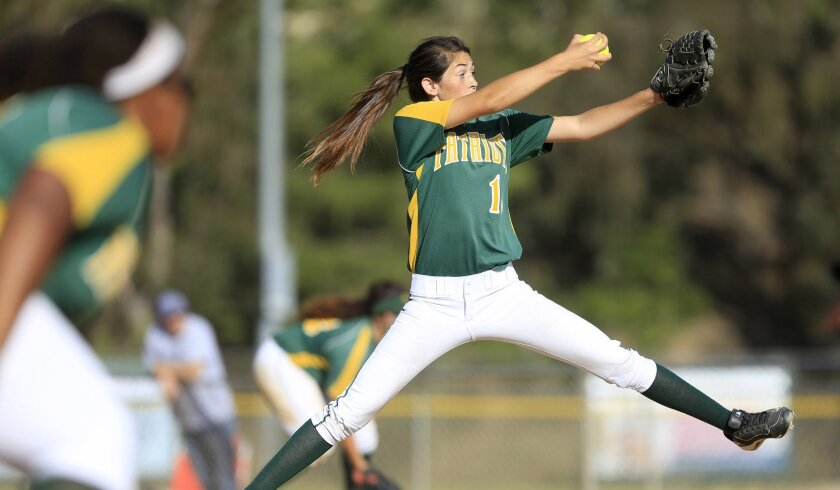 Patrick Henry pitcher Laila Spracklen fires away against Carlsbad in Thursday's semifinals.