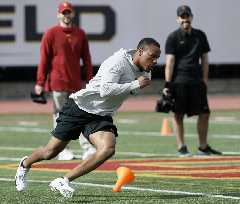 Southern California cornerback Iman Marshall runs through a sprint drill during USC Pro Day, Wednesd