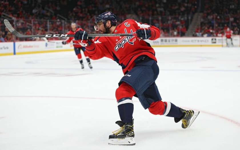 Washington Capitals captain Alexander Ovechkin takes a shot.