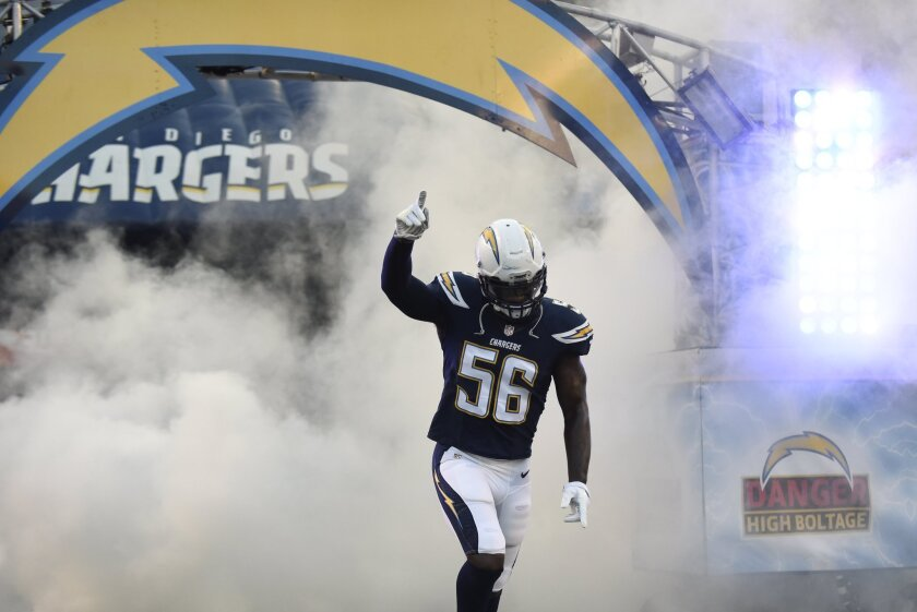 DirecTV customers in San Diego missed the Chargers' first preseason game Thursday due to a dispute over retransmission fees. Pictured: Chargers linebacker Donald Butler (56) takes the field before the Thursday game in San Diego.