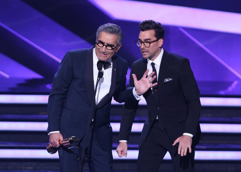 Eugene and Dan Levy at the Canadian Screen Awards