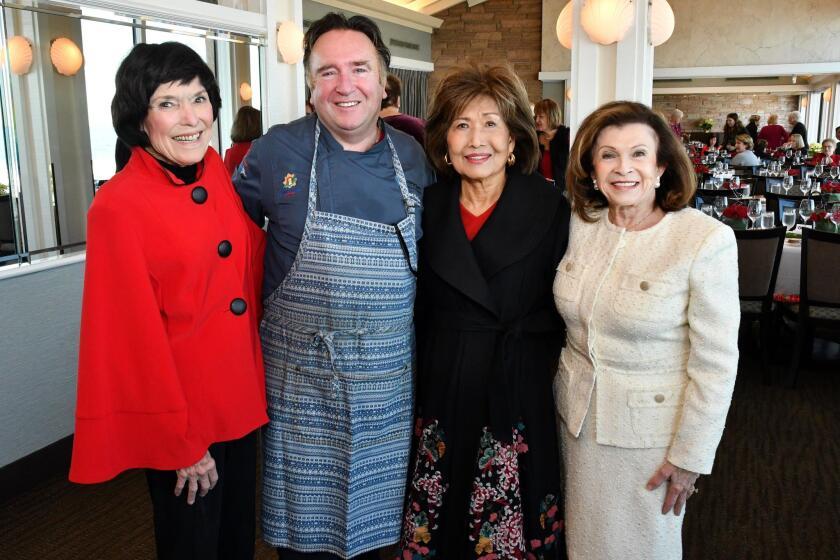 Ginny Black, Marine Room chef Bernard Guillas, Sook Hansen, Linda Masters