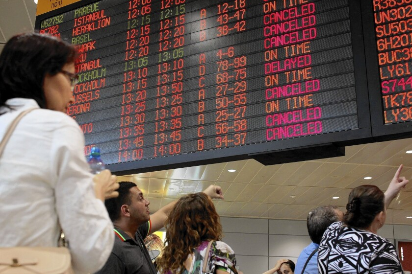 The U.S. ban on flights to and from Israel disrupted travel from Ben Gurion International Airport in Tel Aviv.