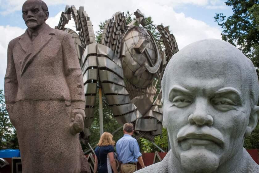 Statues of Vladimir Lenin in Muzeon Park in Moscow.