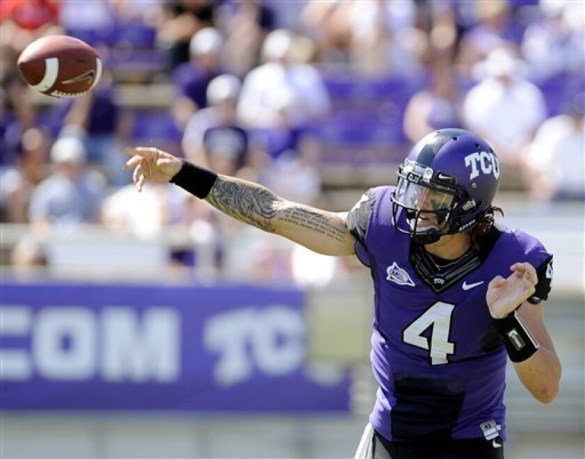 TCU quarterback Casey Pachall (4) throws a pass in the second quarter of an NCAA college football game against Portland State, Saturday, Sept. 24, 2011, in Fort Worth, Texas. TCU won 55-13. (AP Photo/Matt Strasen)