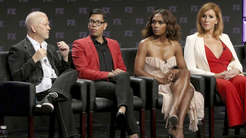"Ryan Murphy, from left, Steven Canals, Janet Mock and Our Lady J at a panel for ""Pose"" during the FX Television Critics Association Summer Press Tour at The Beverly Hilton."