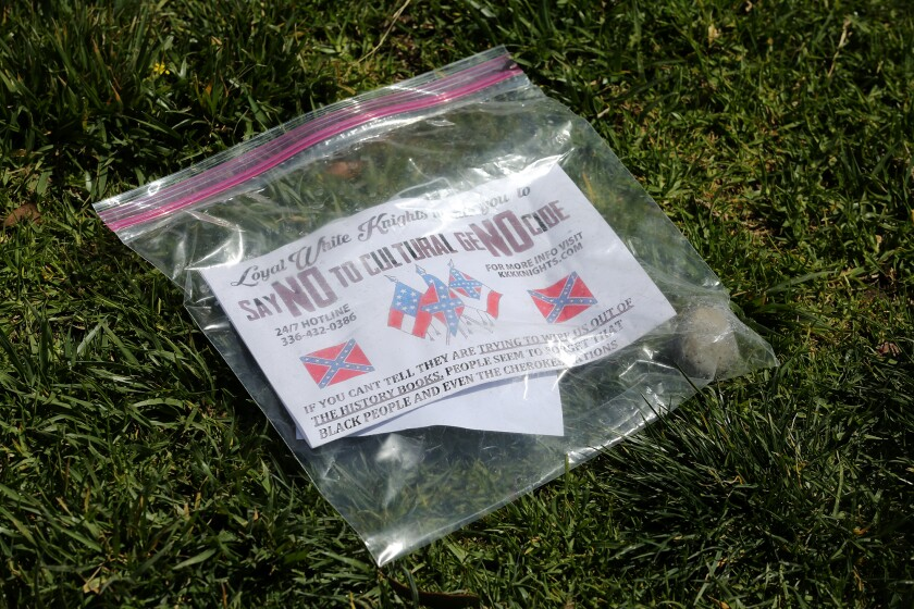 A white supremacist flier was found on the lawn of an unoccupied home on San Bernardino Avenue in Newport Beach Tuesday.