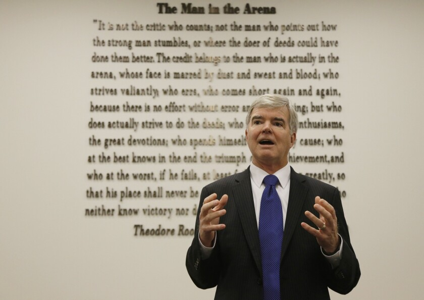 NCAA President Mark Emmert speaks at the organizations headquarters in Indianapolis where the NCAA Board of Directors approved reforms that will allow the Big Five power conferences to pass legislation without approval of the full NCAA membership.