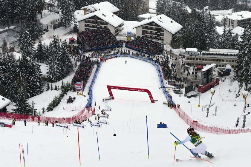 Mikaela Shiffrin of the U.S. speeds down the course during the second run of the women's Slalom race  at the FIS Alpine Ski World Cup in Crans-Montana, Switzerland, Monday, Feb. 15, 2016. Shiffrin won the slalom event. (Jean-Christophe Bott/Keystone via AP)