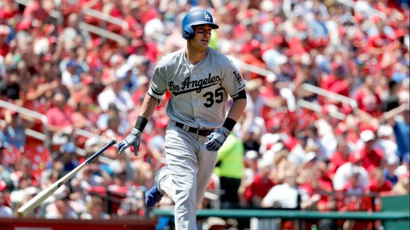 Cody Bellinger drops his bat as he watches a solo home run during a game against the Cardinals in St
