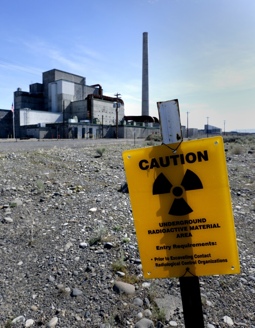 RICHLAND, WA., MARCH 31, 2016: Signs remind visitors approaching the B Reactor on the Hanford Nuclea
