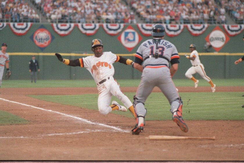 Scoring on a Graig Nettles sacrifice fly, Alan Wiggins slid past Detroit catcher Lance Parrish in Game 2 of the 1984 World Series, still the only Series game the Padres have ever won.