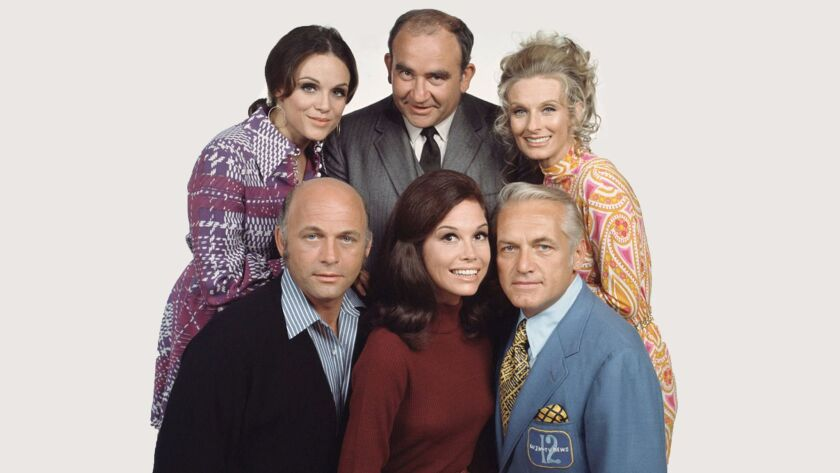 """Cast of """"The Mary Tyler Moore Show"""": Valerie Harper, top left, Ed Asner and Cloris Leachman, and Gavin MacLeod, bottom left, Mary Tyler Moore and Ted Knight."""
