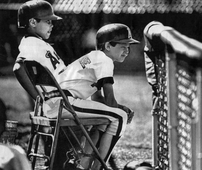 March 22, 1984: Bat boys for the Angels' game against the Oakland Athletics were Dominquez Jackson, Jr., brother of Reggie Jackson, and Aaron Boone, son of catcher Bob Boone.