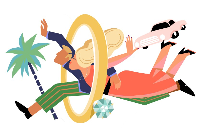 Illustration of a couple happily jumping through a wedding ring.