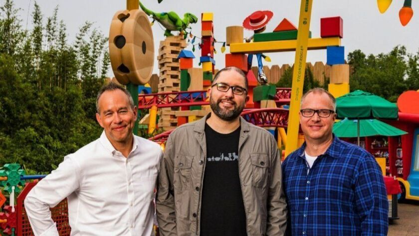 """Toy Story 4"" producer Jonas Rivera, from left, director Josh Cooley and producer Mark Nielsen at Disney's Hollywood Studios on June 8 in Orlando, Florida."