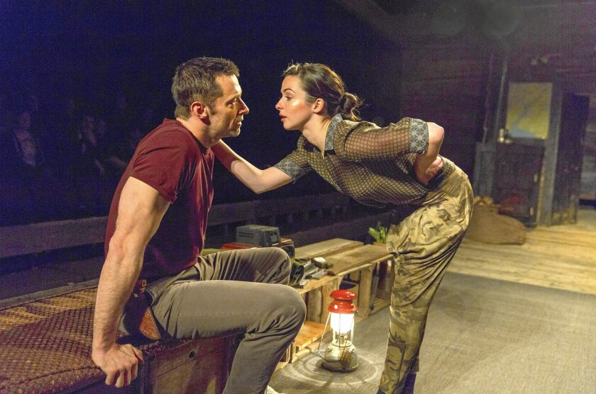 """Hugh Jackman as the Man, Laura Donnelly as the Other Woman in """"The River"""" at Circle in the Square Theatre in New York."""