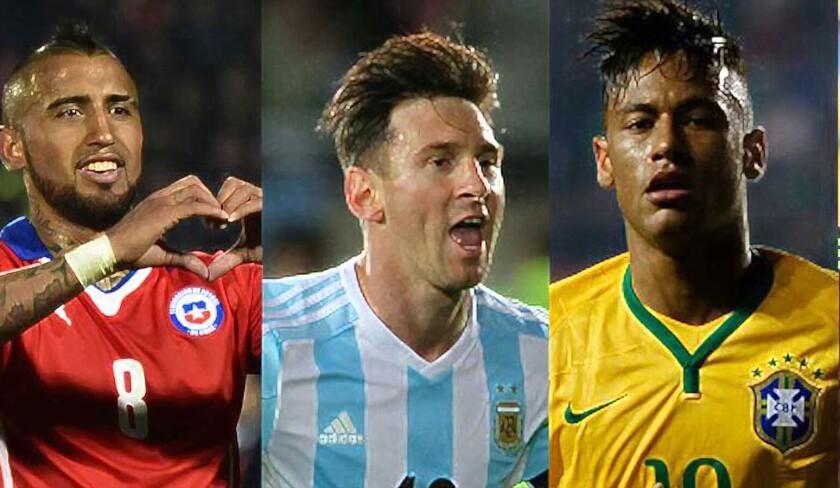 Arturo Vidal (i), Lionel Messi y Neymar entran en escena...