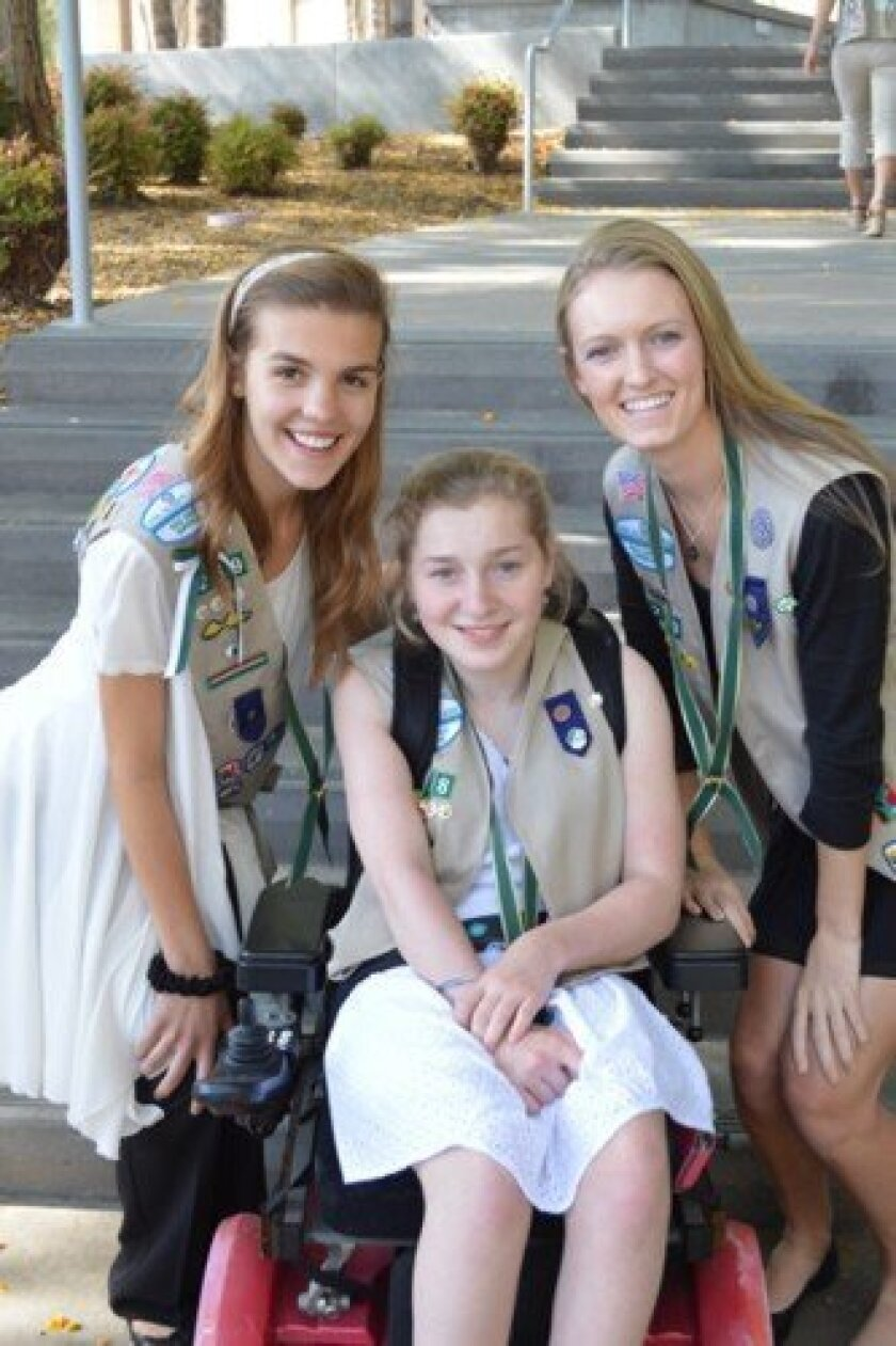 Lolo Frager, Lilly Grossman and Sydney Moses were among the 44 Girl Scout Gold Award winners in San Diego county this year. Courtesy Photos