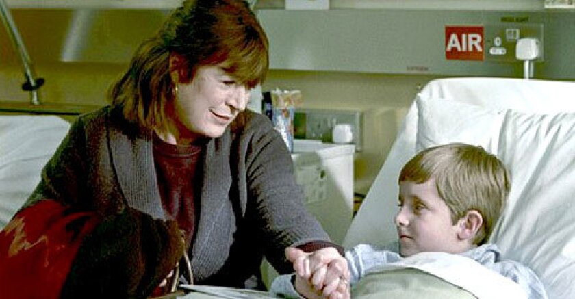 BEDSIDE MATTER: Faithfull, with Corey Burke, stars as a widow willing to make an unusual sacrifice for her grandson.