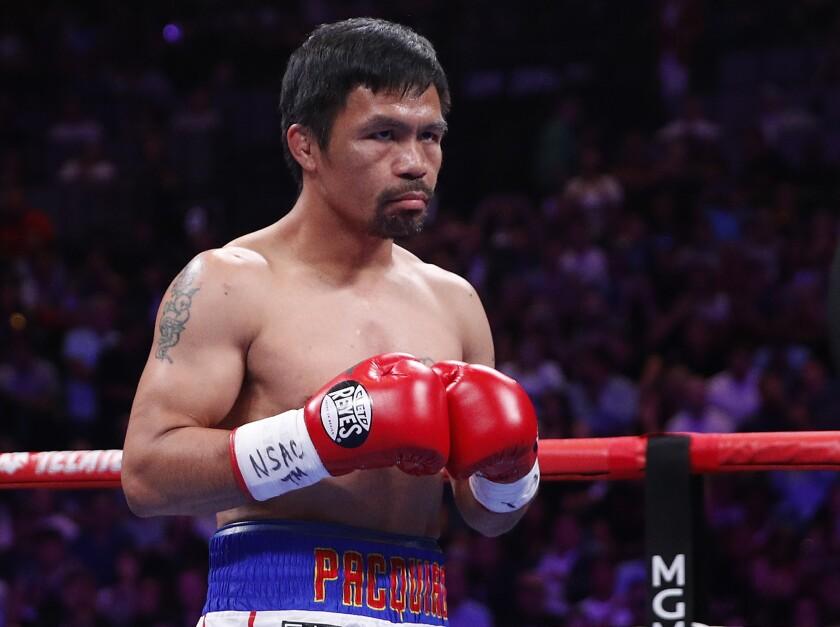 El filipino Manny Pacquiao se prepara para pelear con Keith Thurman