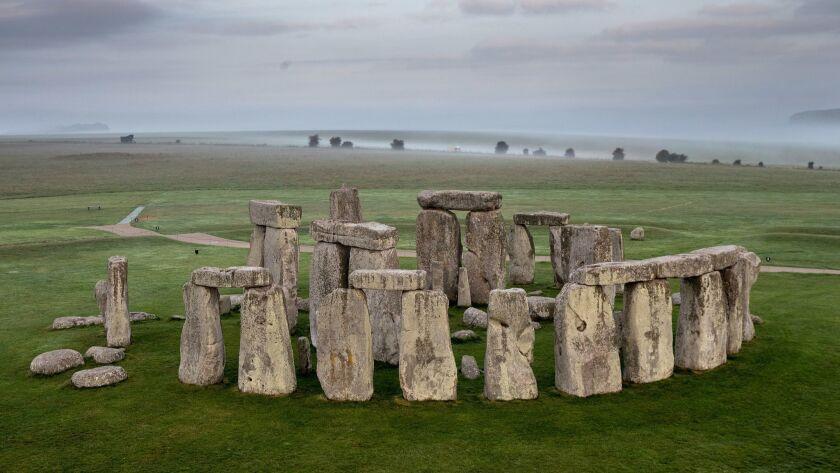The ancient monument of Stonehenge near Amesbury, England.