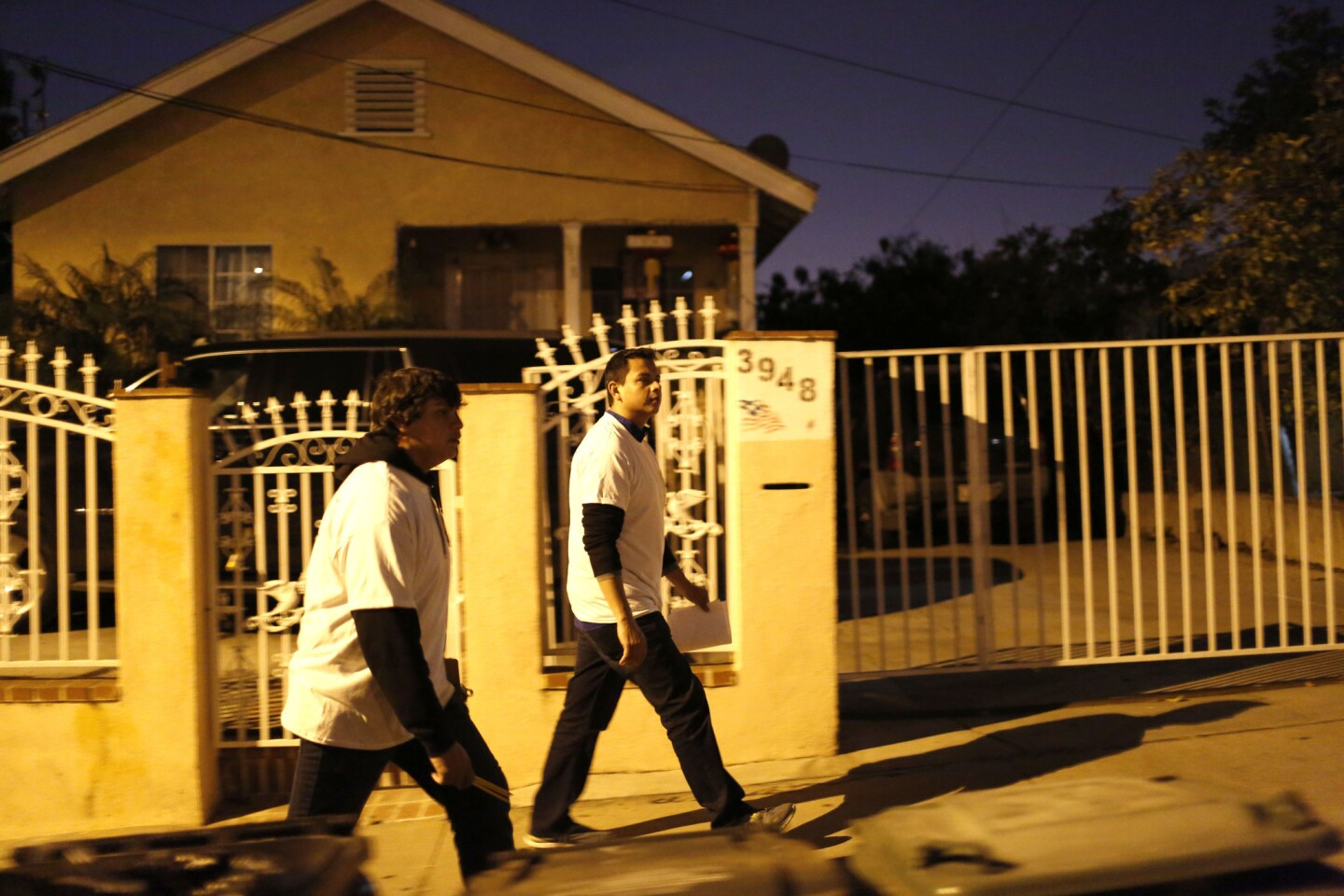 Benjamin Romero, 18, left, and his brother Omar, 32, survey neighborhoods near the 60 Freeway in East Los Angeles for homeless people as part of the Los Angeles Homeless Services Authority's 2016 homeless census.