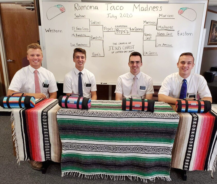 Left to right, taco tasters Reid Nielson, Jaden Mellott, George Foster and Jack Wentworth.