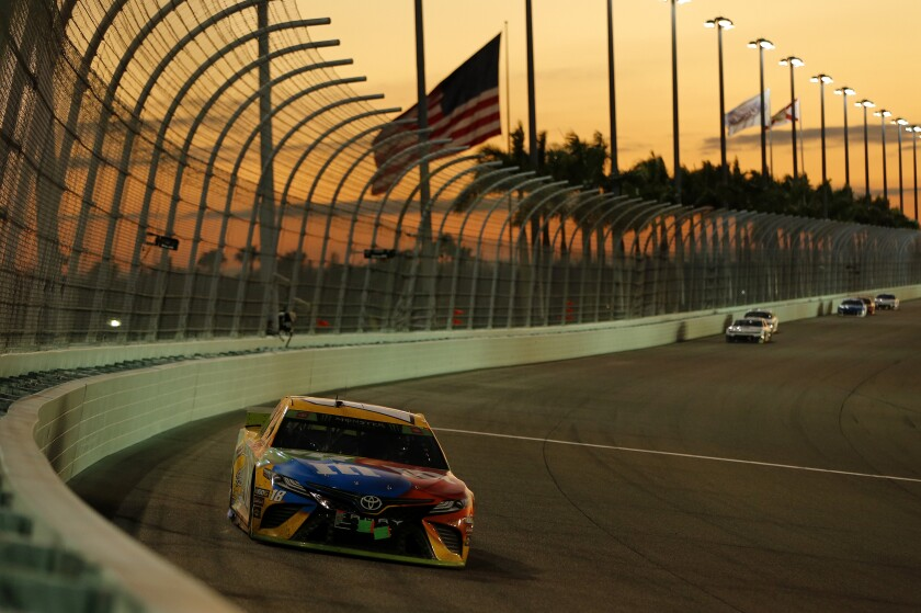 Kyle Busch races at Homestead-Miami Speedway during the NASCAR season finale in November.
