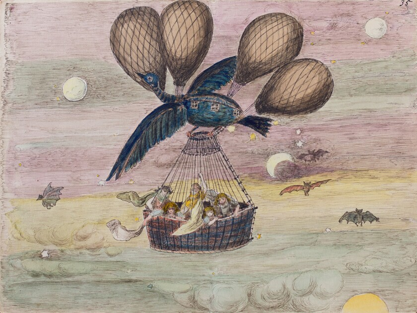 """The exhibit """"Titi, Nunu, and Klembolo: Helena Modjeska's Fairy Tale Book"""" at the Laguna Art Museum features illustrations from a children's fable created by the Polish actress."""