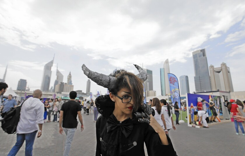 A cosplayer attends the Middle East Film & Comic Con in Dubai, United Arab Emirates. The convention, in its fifth year, has seen its attendance increase dramatically since its inception.