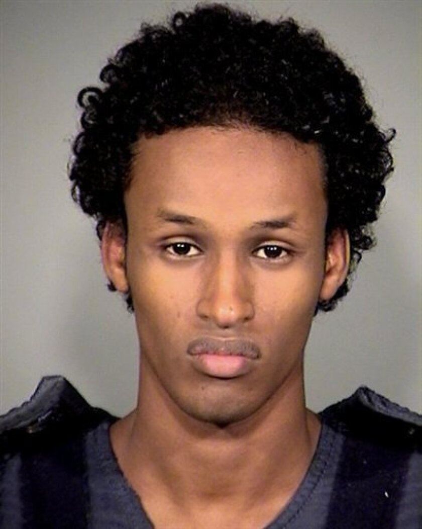 FILE - This image released Nov. 27, 2010 by the Multnomah County Sheriff's Office shows Mohamed Osman Mohamud, 19. Mohamud, a 21-year-old Somali-American found guilty on Thursday Jan. 31, 2013, of attempting to bomb a Portland Christmas tree-lighting in November 2010. (AP Photo/Mauthnomah County Sheriff's Office)