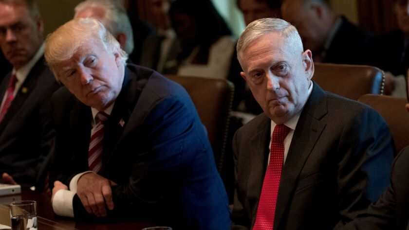 President Donald Trump and Defense Secretary Jim Mattis attend a Cabinet meeting, Monday, June 12, 2