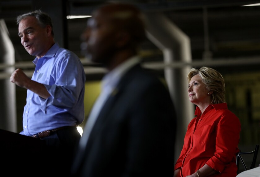 Tim Kaine speaks at a campaign rally in Johnstown, Pa., with Hillary Clinton.