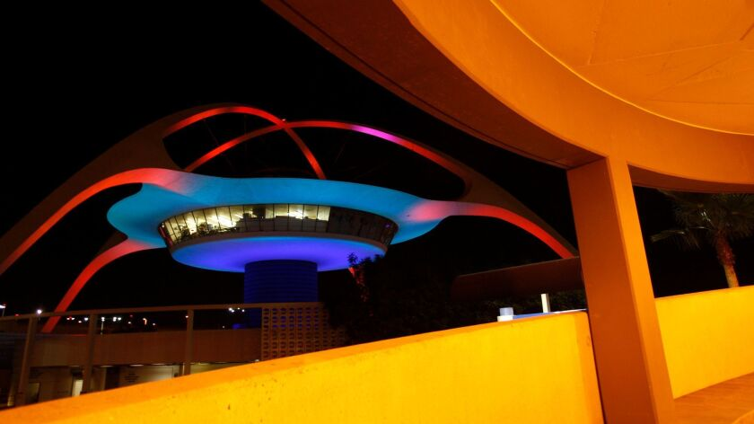 The Theme Building at LAX in 2010. The building completed a $14-million repair and seismic upgrade that year.