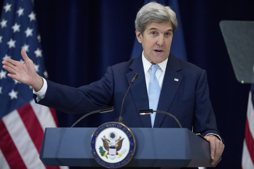 Secretary of State John Kerry speaks at the State Department in Washington on Wednesday.